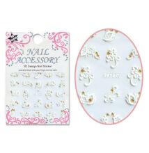 3D akril hatású matrica SMY220WG Fehér virágok arany strasszokkal