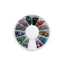 Strasszkő tárcsa 12 rekeszes #020 vegyes színű
